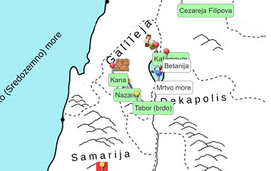 karta Palestine - vjeronauk - eduaktivna on-line igra